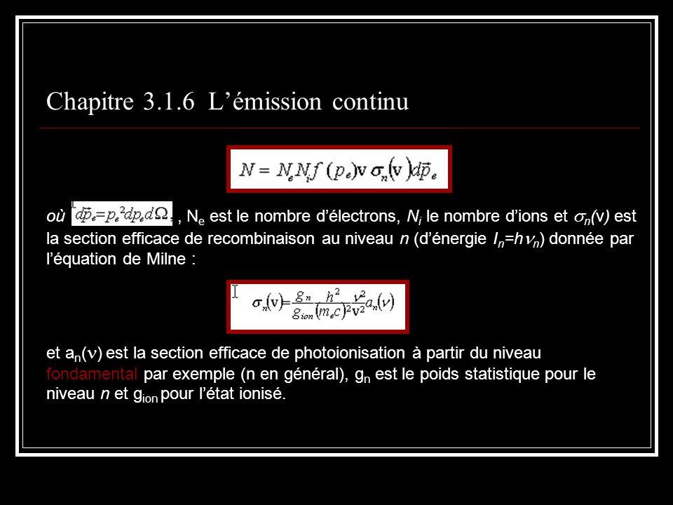 Chapitre 3.1.6 Lémission continu où, N e est le nombre délectrons, N i le nombre dions et n (v) est la section efficace de recombinaison au niveau n (dénergie I n =h n ) donnée par léquation de Milne : et a n ( ) est la section efficace de photoionisation à partir du niveau fondamental par exemple (n en général), g n est le poids statistique pour le niveau n et g ion pour létat ionisé.