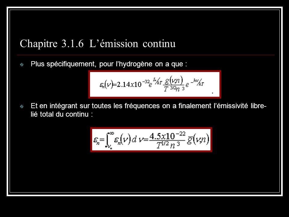 Chapitre 3.1.6 Lémission continu Plus spécifiquement, pour lhydrogène on a que : Et en intégrant sur toutes les fréquences on a finalement lémissivité libre- lié total du continu :