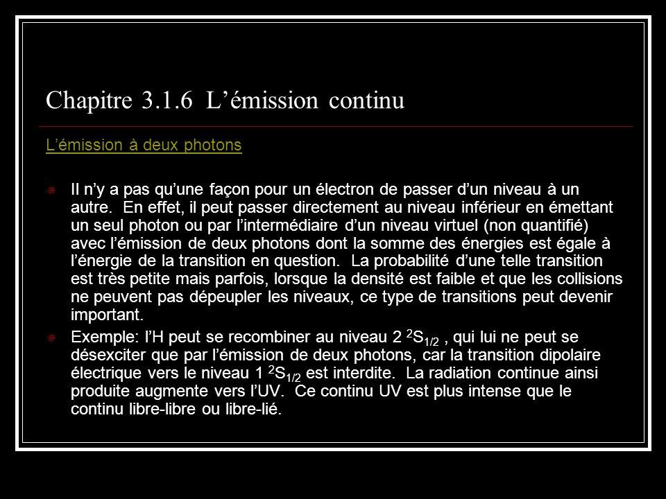 Chapitre 3.1.6 Lémission continu Lémission à deux photons Il ny a pas quune façon pour un électron de passer dun niveau à un autre.