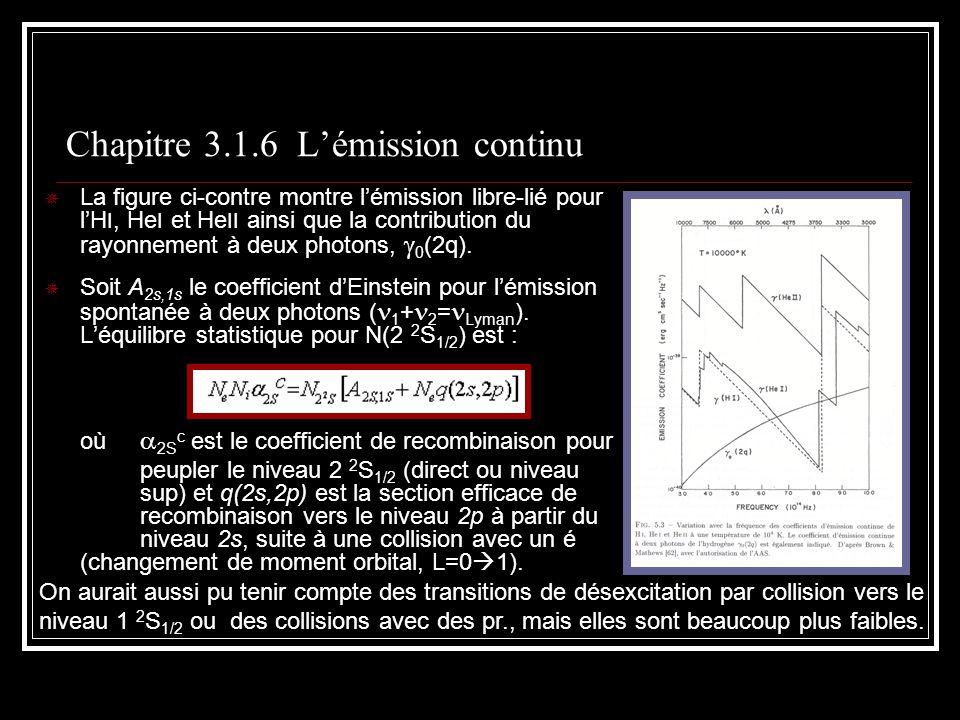 Chapitre 3.1.6 Lémission continu La figure ci-contre montre lémission libre-lié pour lH I, He I et He II ainsi que la contribution du rayonnement à deux photons, 0 (2q).