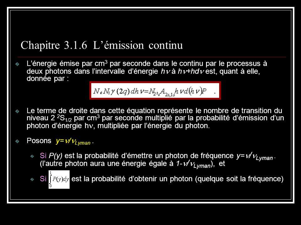 Chapitre 3.1.6 Lémission continu Lénergie émise par cm 3 par seconde dans le continu par le processus à deux photons dans lintervalle dénergie h à h +hd est, quant à elle, donnée par : Le terme de droite dans cette équation représente le nombre de transition du niveau 2 2 S 1/2 par cm 3 par seconde multiplié par la probabilité démission dun photon dénergie h, multipliée par lénergie du photon.