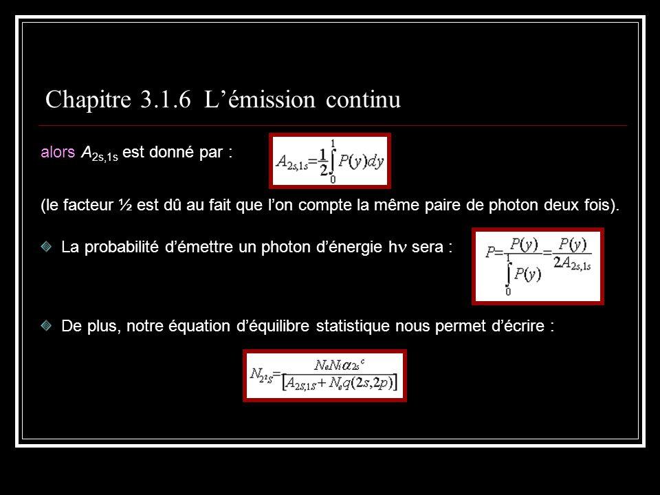 Chapitre 3.1.6 Lémission continu alors A 2s,1s est donné par : (le facteur ½ est dû au fait que lon compte la même paire de photon deux fois).