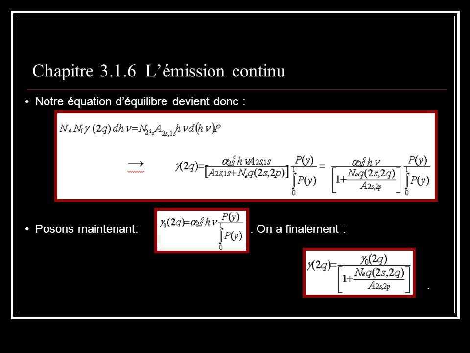 Chapitre 3.1.6 Lémission continu Notre équation déquilibre devient donc : Posons maintenant:.