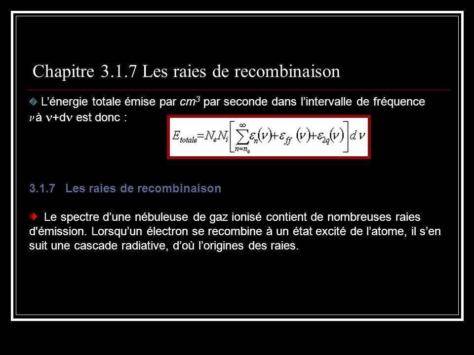 Chapitre 3.1.7 Les raies de recombinaison Lénergie totale émise par cm 3 par seconde dans lintervalle de fréquence à +d est donc : 3.1.7 Les raies de recombinaison Le spectre dune nébuleuse de gaz ionisé contient de nombreuses raies d émission.