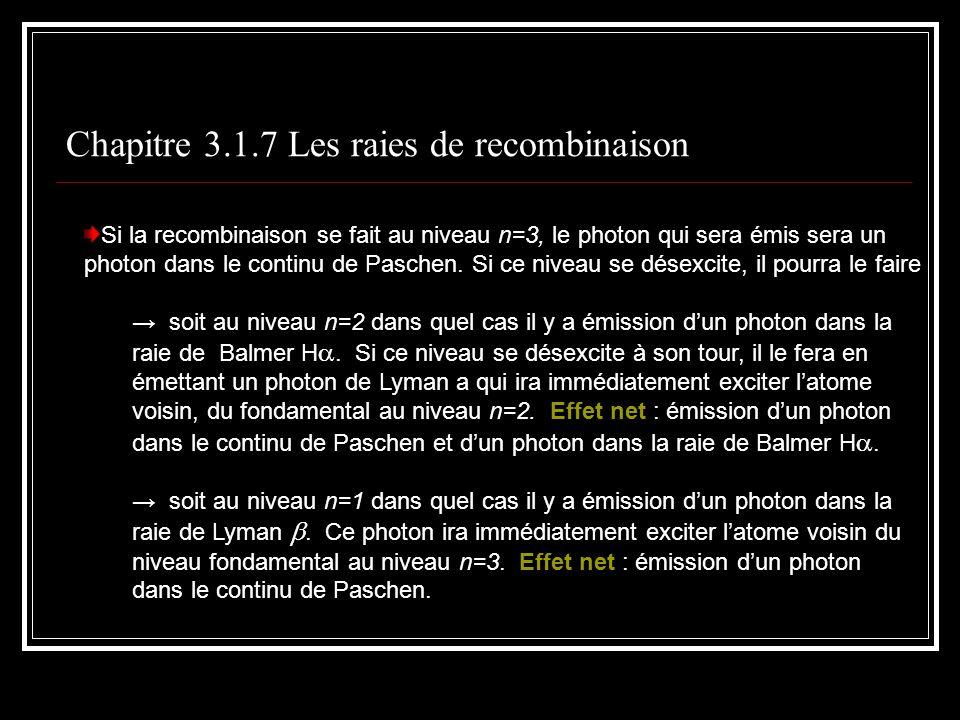 Chapitre 3.1.7 Les raies de recombinaison Si la recombinaison se fait au niveau n=3, le photon qui sera émis sera un photon dans le continu de Paschen.