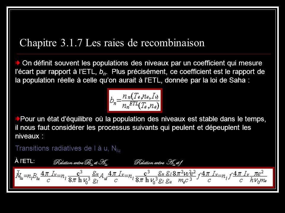 Chapitre 3.1.7 Les raies de recombinaison On définit souvent les populations des niveaux par un coefficient qui mesure lécart par rapport à lETL, b n.