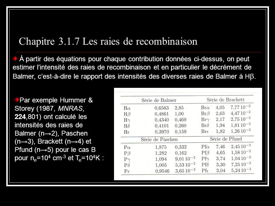 Chapitre 3.1.7 Les raies de recombinaison À partir des équations pour chaque contribution données ci-dessus, on peut estimer lintensité des raies de recombinaison et en particulier le décrément de Balmer, cest-à-dire le rapport des intensités des diverses raies de Balmer à H.
