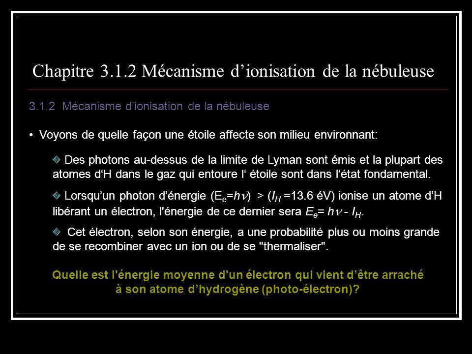 Plan… 3.1 Les régions HII 3.1.1 Les étoiles qui les génèrent 3.1.2 Mécanisme dionisation de la nébuleuse 3.1.3 Degré dionisation 3.1.4 Taille dune région HII 3.1.5 Bilan énergétique/température dune région HII 3.1.6 Émission continue Lémission libre-lié Lémission libre-libre