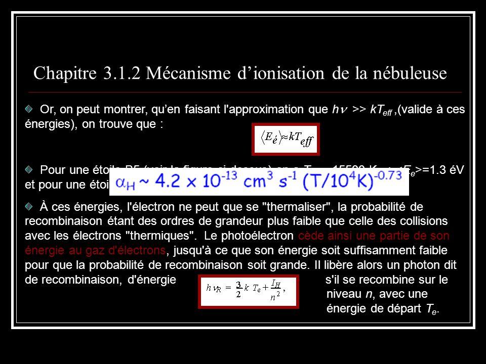 Chapitre 3.1.7 Les raies de recombinaison Transitions radiatives de u à l, N ul On a que : Les ionisations radiatives à partir du niveau l par exemple, P l,k Le taux de recombinaisons au niveau l par exemple Le taux de recombinaison sur le niveau l est : Ici, K est une constante et l est le potentiel dionisation à partir du niveau l.