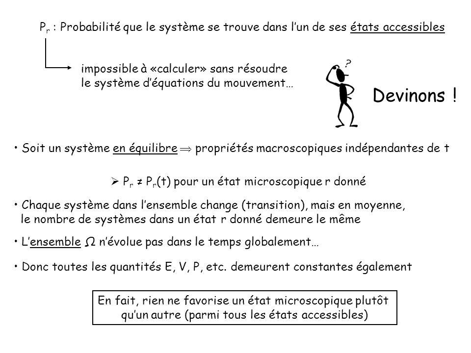 P r : Probabilité que le système se trouve dans lun de ses états accessibles impossible à «calculer» sans résoudre le système déquations du mouvement… Devinons .