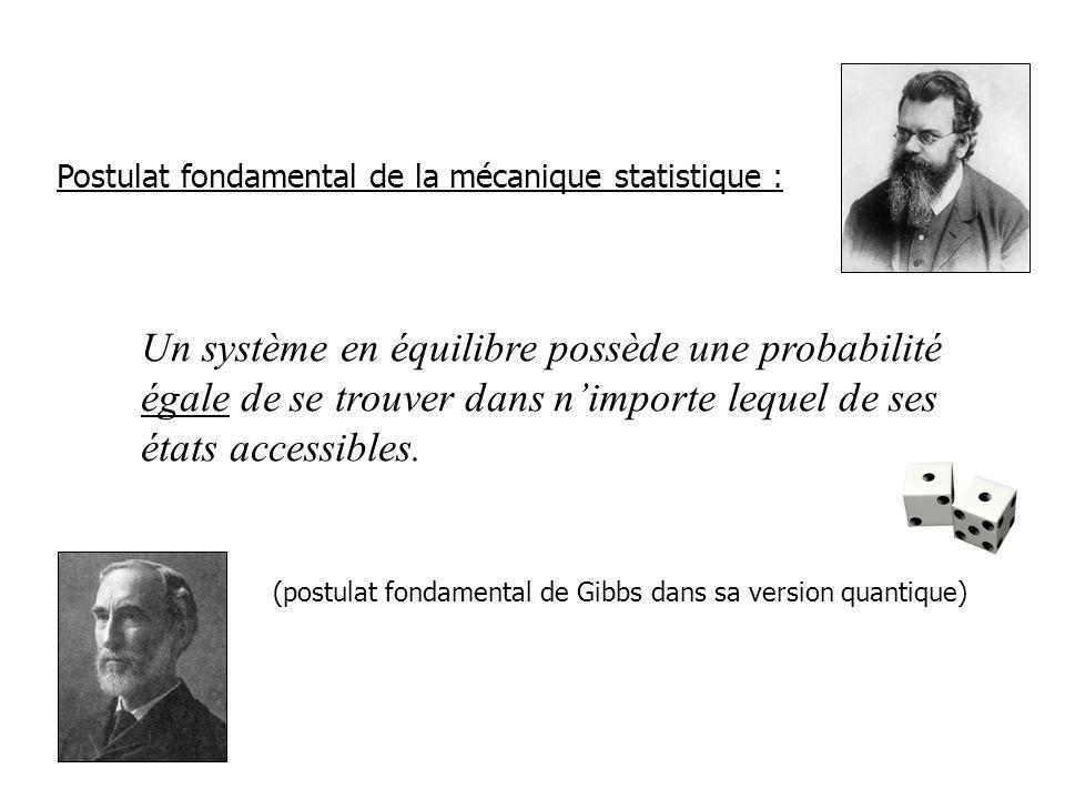 Un système en équilibre possède une probabilité égale de se trouver dans nimporte lequel de ses états accessibles.