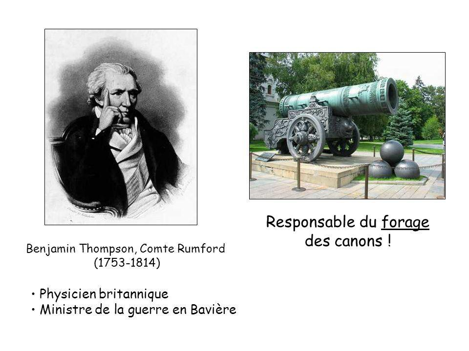 Benjamin Thompson, Comte Rumford (1753-1814) Physicien britannique Ministre de la guerre en Bavière Responsable du forage des canons !