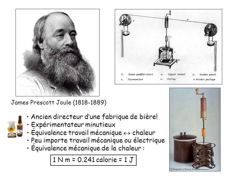James Prescott Joule (1818-1889) Ancien directeur dune fabrique de bière.