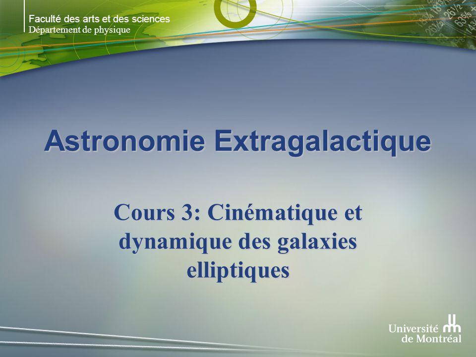 Faculté des arts et des sciences Département de physique Astronomie Extragalactique Cours 3: Cinématique et dynamique des galaxies elliptiques