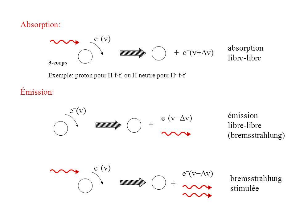 diffusion ou e (v) (A) représente une extinction du faisceau de radiation (B) contribue à lémission dans un autre faisceau de radiation ou e (v) (A)(B) v1v1 v2v2 tel que v 1 ~ v 2