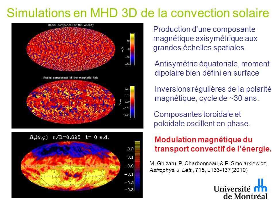 Simulations en MHD 3D de la convection solaire Production dune composante magnétique axisymétrique aux grandes échelles spatiales.