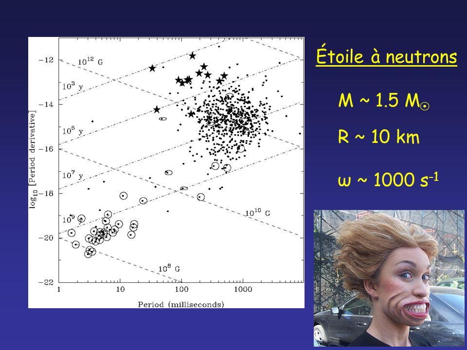Étoile à neutrons M ~ 1.5 M R ~ 10 km ω ~ 1000 s -1