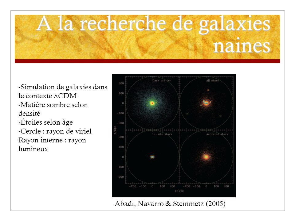 A la recherche de galaxies naines -Simulation de galaxies dans le contexte CDM -Matière sombre selon densité -Étoiles selon âge -Cercle : rayon de viriel Rayon interne : rayon lumineux Abadi, Navarro & Steinmetz (2005)