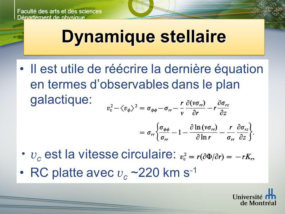Faculté des arts et des sciences Département de physique Dynamique stellaire Il est utile de réécrire la dernière équation en termes dobservables dans