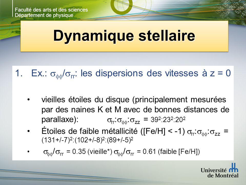 Faculté des arts et des sciences Département de physique Dynamique stellaire 1.Ex.: / rr : les dispersions des vitesses à z = 0 vieilles étoiles du di