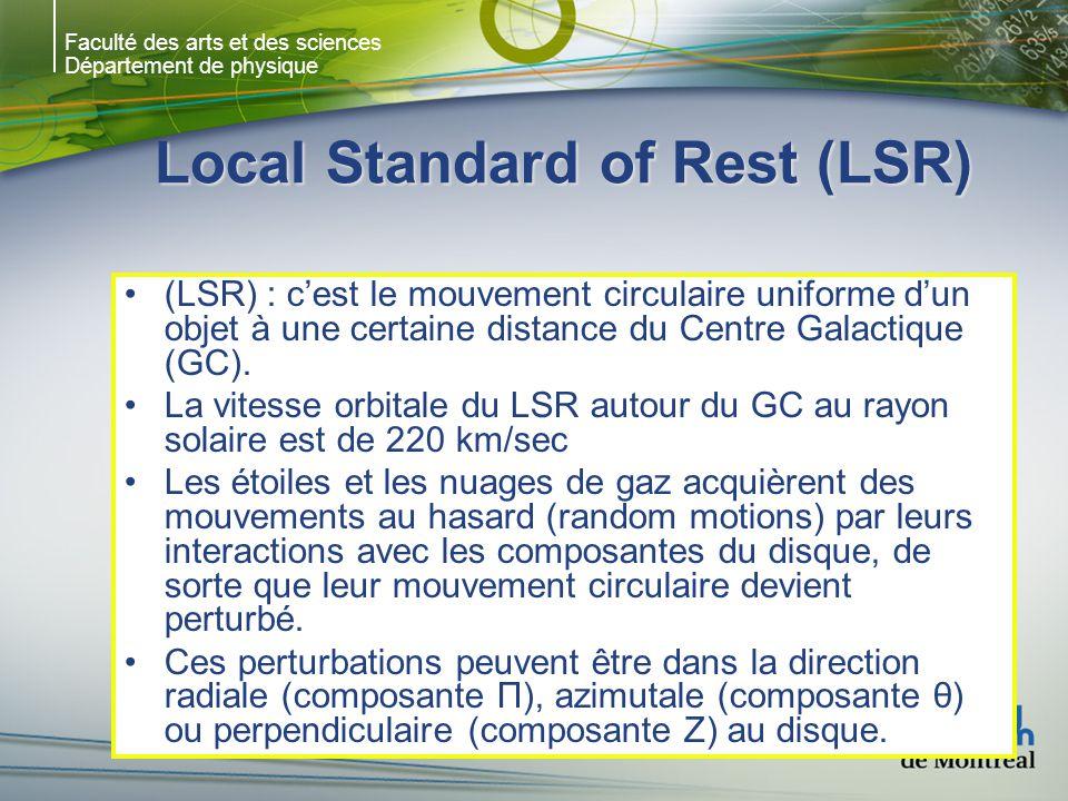 Faculté des arts et des sciences Département de physique Local Standard of Rest (LSR) (LSR) : cest le mouvement circulaire uniforme dun objet à une certaine distance du Centre Galactique (GC).