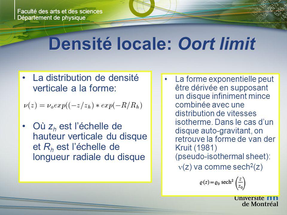Faculté des arts et des sciences Département de physique Densité locale: Oort limit La distribution de densité verticale a la forme: Où z h est léchelle de hauteur verticale du disque et R h est léchelle de longueur radiale du disque La forme exponentielle peut être dérivée en supposant un disque infiniment mince combinée avec une distribution de vitesses isotherme.
