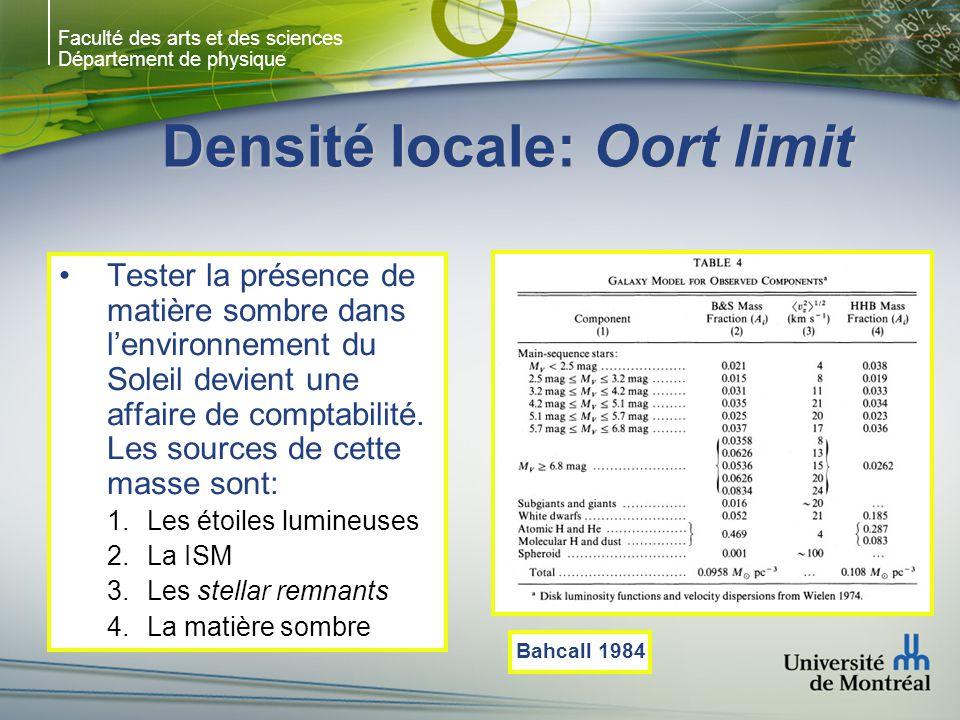 Faculté des arts et des sciences Département de physique Densité locale: Oort limit Tester la présence de matière sombre dans lenvironnement du Soleil devient une affaire de comptabilité.