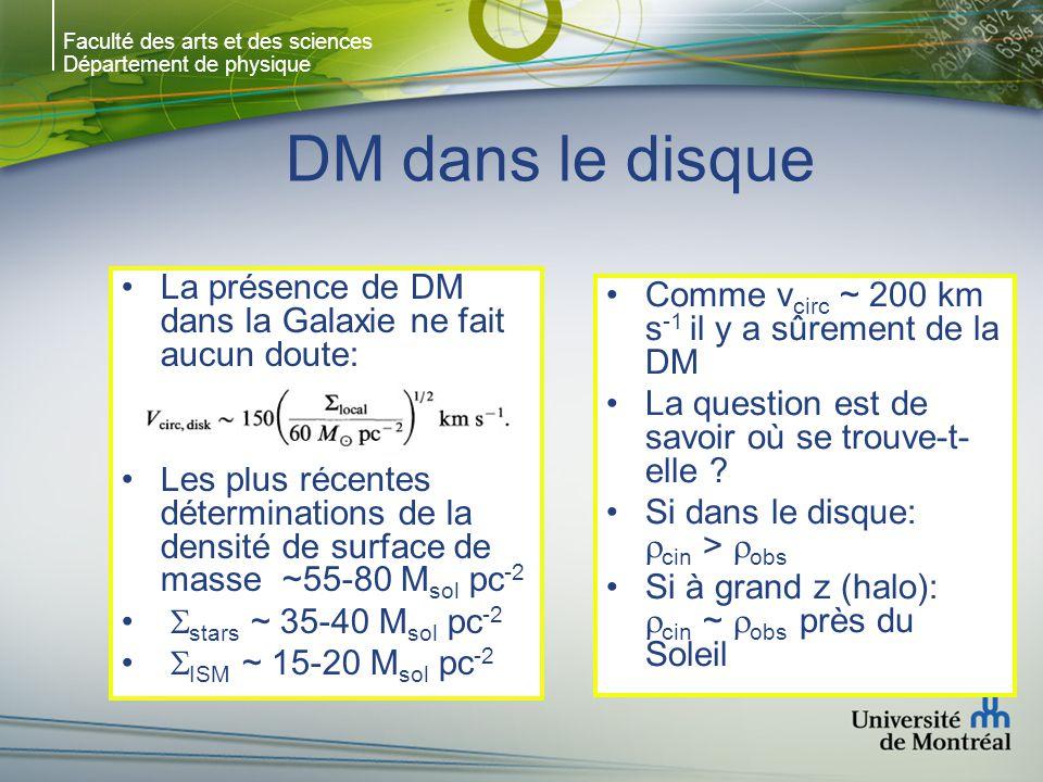 Faculté des arts et des sciences Département de physique DM dans le disque La présence de DM dans la Galaxie ne fait aucun doute: Les plus récentes dé