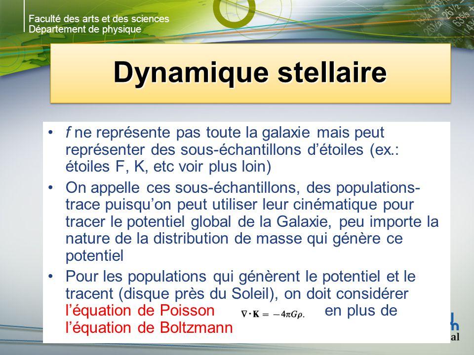 Faculté des arts et des sciences Département de physique Dynamique stellaire f ne représente pas toute la galaxie mais peut représenter des sous-échantillons détoiles (ex.: étoiles F, K, etc voir plus loin) On appelle ces sous-échantillons, des populations- trace puisquon peut utiliser leur cinématique pour tracer le potentiel global de la Galaxie, peu importe la nature de la distribution de masse qui génère ce potentiel Pour les populations qui génèrent le potentiel et le tracent (disque près du Soleil), on doit considérer léquation de Poisson en plus de léquation de Boltzmann