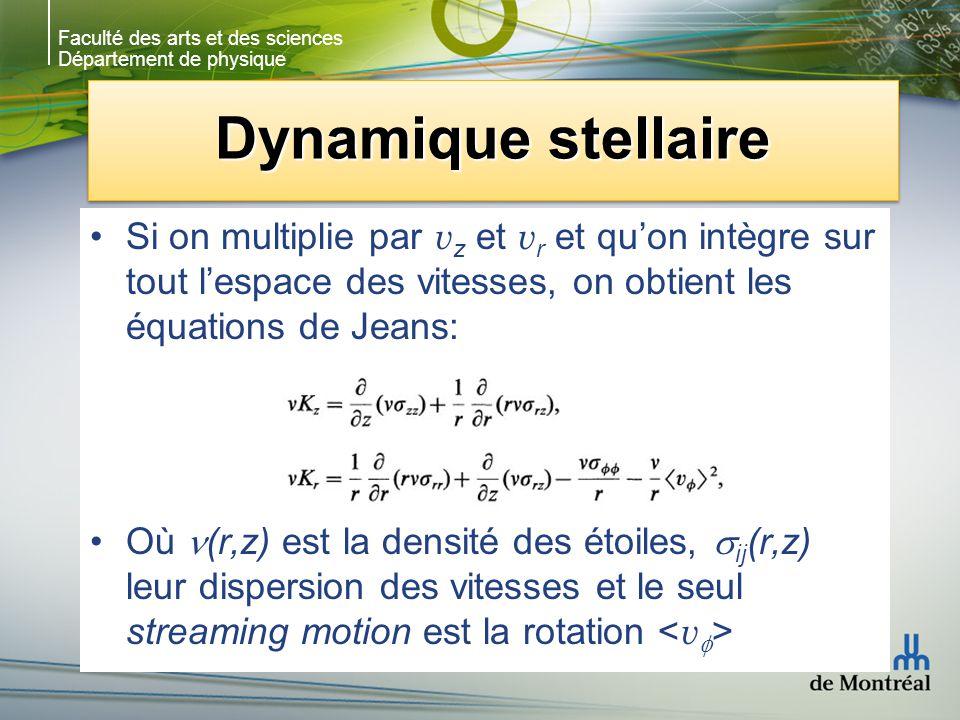 Faculté des arts et des sciences Département de physique Dynamique stellaire Si on multiplie par v z et v r et quon intègre sur tout lespace des vitesses, on obtient les équations de Jeans: Où (r,z) est la densité des étoiles, ij (r,z) leur dispersion des vitesses et le seul streaming motion est la rotation