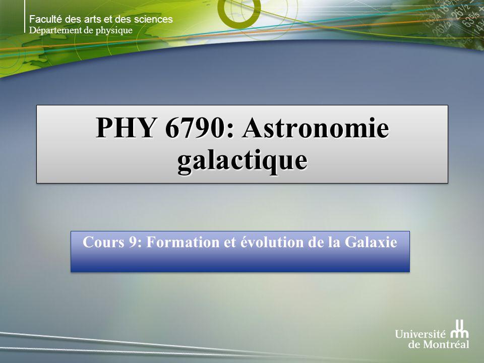 Faculté des arts et des sciences Département de physique PHY 6790: Astronomie galactique Cours 9: Formation et évolution de la Galaxie