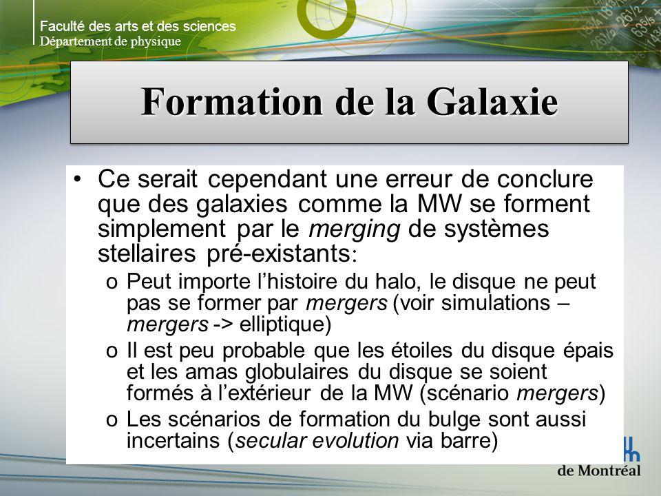 Faculté des arts et des sciences Département de physique Formation de la Galaxie Ce serait cependant une erreur de conclure que des galaxies comme la MW se forment simplement par le merging de systèmes stellaires pré-existants: oPeut importe lhistoire du halo, le disque ne peut pas se former par mergers (voir simulations – mergers -> elliptique) oIl est peu probable que les étoiles du disque épais et les amas globulaires du disque se soient formés à lextérieur de la MW (scénario mergers) oLes scénarios de formation du bulge sont aussi incertains (secular evolution via barre)