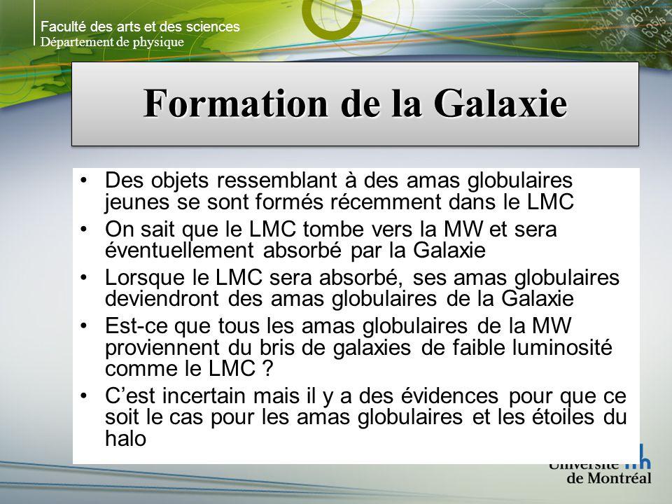Faculté des arts et des sciences Département de physique Formation de la Galaxie Des objets ressemblant à des amas globulaires jeunes se sont formés récemment dans le LMC On sait que le LMC tombe vers la MW et sera éventuellement absorbé par la Galaxie Lorsque le LMC sera absorbé, ses amas globulaires deviendront des amas globulaires de la Galaxie Est-ce que tous les amas globulaires de la MW proviennent du bris de galaxies de faible luminosité comme le LMC .