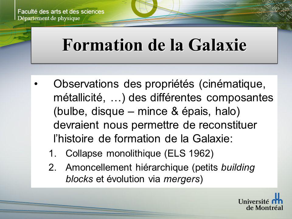Faculté des arts et des sciences Département de physique Formation de la Galaxie Observations des propriétés (cinématique, métallicité, …) des différe