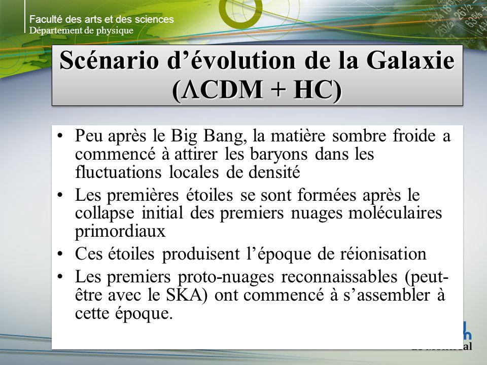 Faculté des arts et des sciences Département de physique Scénario dévolution de la Galaxie ( CDM + HC) Peu après le Big Bang, la matière sombre froide a commencé à attirer les baryons dans les fluctuations locales de densité Les premières étoiles se sont formées après le collapse initial des premiers nuages moléculaires primordiaux Ces étoiles produisent lépoque de réionisation Les premiers proto-nuages reconnaissables (peut- être avec le SKA) ont commencé à sassembler à cette époque.
