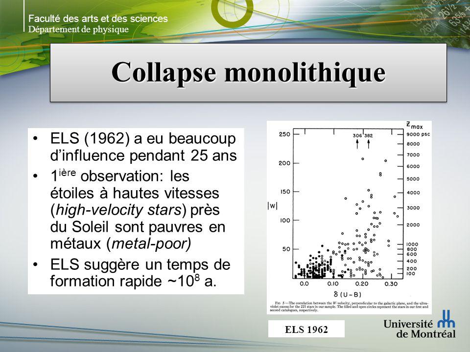 Faculté des arts et des sciences Département de physique Collapse monolithique ELS (1962) a eu beaucoup dinfluence pendant 25 ans 1 ière observation: les étoiles à hautes vitesses (high-velocity stars) près du Soleil sont pauvres en métaux (metal-poor) ELS suggère un temps de formation rapide ~10 8 a.