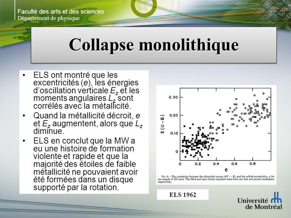 Faculté des arts et des sciences Département de physique Collapse monolithique E z, e et L z sont des « invariants adiabatiques », cest- à-dire que leurs valeurs pour une étoile donnée changent peu si le potentiel dans lequel létoile se déplace change lentement.