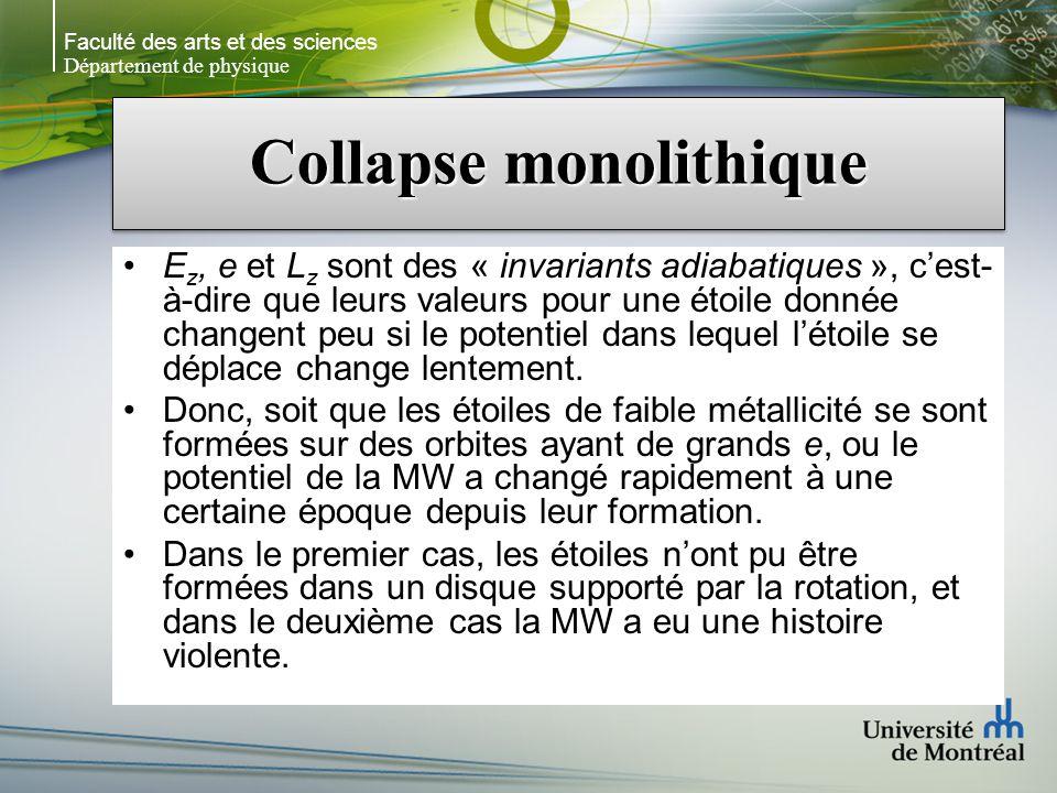 Faculté des arts et des sciences Département de physique Collapse monolithique E z, e et L z sont des « invariants adiabatiques », cest- à-dire que le