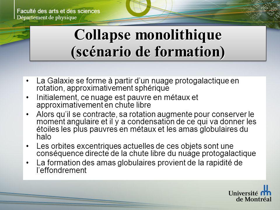 Faculté des arts et des sciences Département de physique Collapse monolithique (scénario de formation) La Galaxie se forme à partir dun nuage protogal