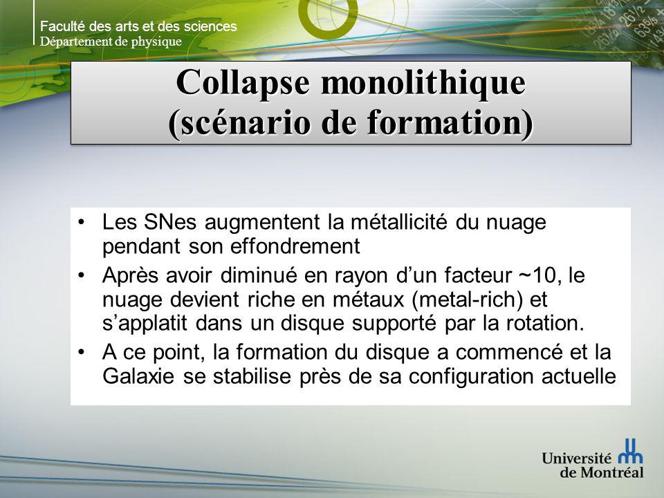 Faculté des arts et des sciences Département de physique Collapse monolithique (scénario de formation) Les SNes augmentent la métallicité du nuage pen
