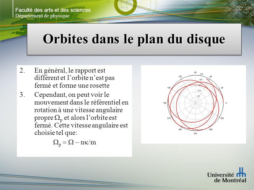 Faculté des arts et des sciences Département de physique Orbites dans le plan du disque 2.En général, le rapport est différent et lorbite nest pas fermé et forme une rosette 3.Cependant, on peut voir le mouvement dans le référentiel en rotation à une vitesse angulaire propre p et alors lorbite est fermé.