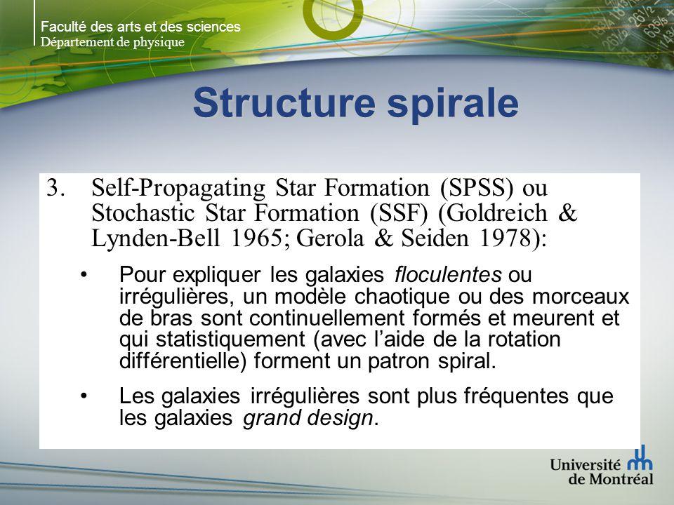 Faculté des arts et des sciences Département de physique Structure spirale 3.Self-Propagating Star Formation (SPSS) ou Stochastic Star Formation (SSF)