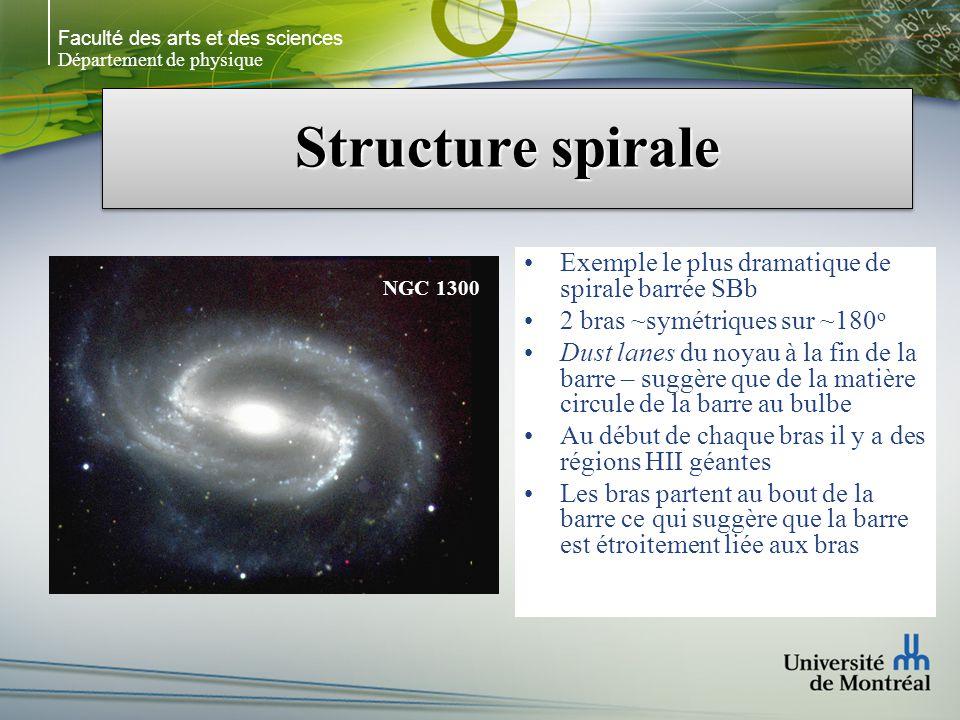 Faculté des arts et des sciences Département de physique Structure spirale Exemple le plus dramatique de spirale barrée SBb 2 bras ~symétriques sur ~180 o Dust lanes du noyau à la fin de la barre – suggère que de la matière circule de la barre au bulbe Au début de chaque bras il y a des régions HII géantes Les bras partent au bout de la barre ce qui suggère que la barre est étroitement liée aux bras NGC 1300