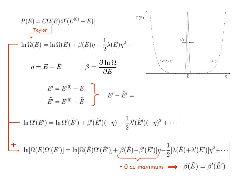 À la valeur maximale de ln P(E) 0 Distribution gaussienne (à retenir…)