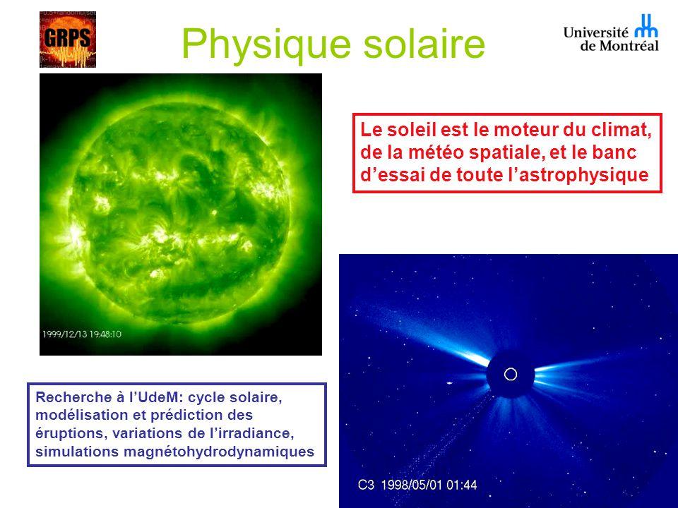 Physique solaire Le soleil est le moteur du climat, de la météo spatiale, et le banc dessai de toute lastrophysique Recherche à lUdeM: cycle solaire, modélisation et prédiction des éruptions, variations de lirradiance, simulations magnétohydrodynamiques