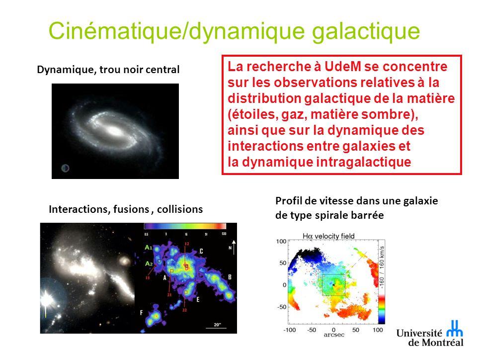 Cinématique/dynamique galactique Interactions, fusions, collisions Dynamique, trou noir central La recherche à UdeM se concentre sur les observations relatives à la distribution galactique de la matière (étoiles, gaz, matière sombre), ainsi que sur la dynamique des interactions entre galaxies et la dynamique intragalactique Profil de vitesse dans une galaxie de type spirale barrée