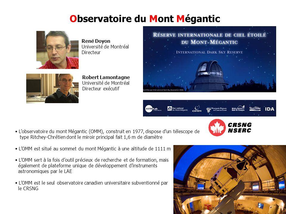 Observatoire du Mont Mégantic René Doyon Université de Montréal Directeur Robert Lamontagne Université de Montréal Directeur exécutif Lobservatoire du mont Mégantic (OMM), construit en 1977, dispose d un télescope de type Ritchey-Chrétien dont le miroir principal fait 1,6 m de diamètre LOMM est situé au sommet du mont Mégantic à une altitude de 1111 m LOMM sert à la fois doutil précieux de recherche et de formation, mais également de plateforme unique de développement dinstruments astronomiques par le LAE LOMM est le seul observatoire canadien universitaire subventionné par le CRSNG