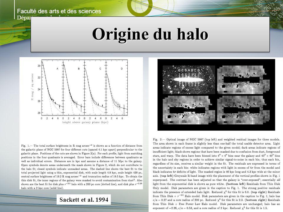 Faculté des arts et des sciences Département de physique Origine du halo Sackett et al. 1994