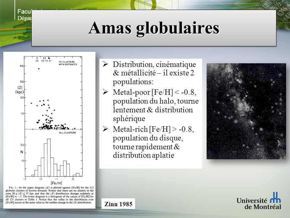 Faculté des arts et des sciences Département de physique Amas globulaires NGC 1275 (HST) M V ~ -12 à -14 Bleu (V – R) < 0.3 M GCs ~ 10 5 – 10 8 M sol Merger de NGC 1275 ~ 10 8 années Holtzman et al.