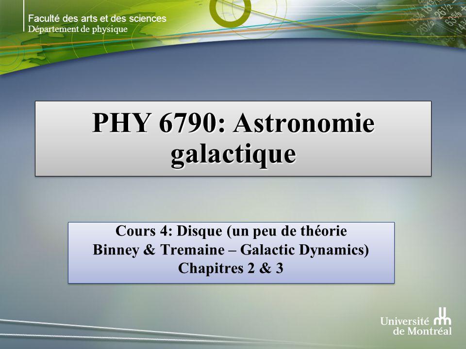 Faculté des arts et des sciences Département de physique PHY 6790: Astronomie galactique Cours 4: Disque (un peu de théorie Binney & Tremaine – Galact